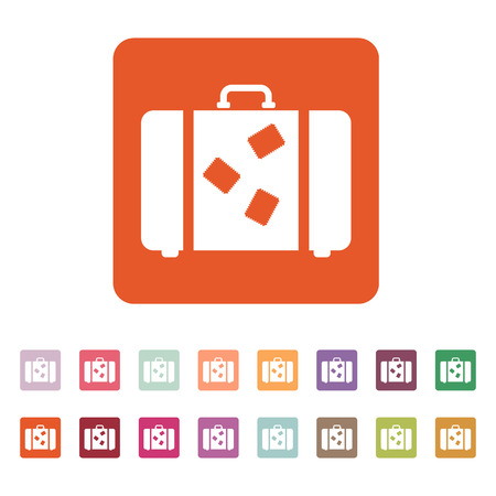 attache: The suitcase icon. Luggage symbol. Flat Vector illustration. Button Set