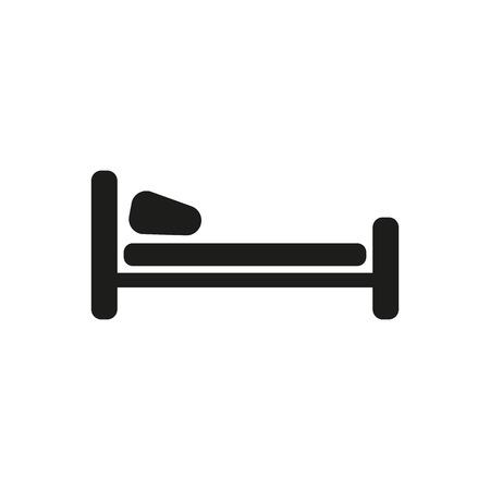 Ikona łóżko. Symbol Hotel. Mieszkanie Vector
