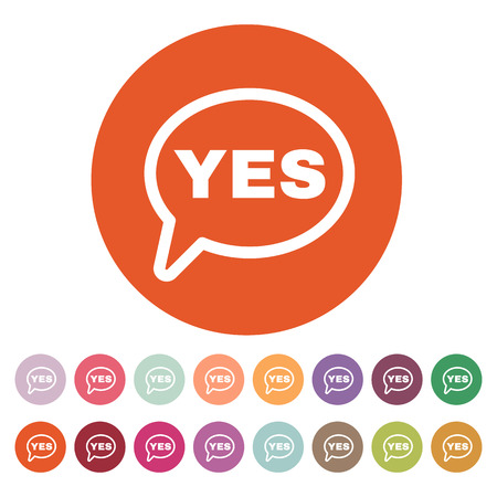 The YES speech bubble icon. Yes symbol. Flat Vector illustration. Button Set Illustration