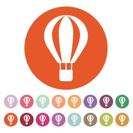 aerostat: The air balloon icon. Aerostat symbol. Flat Vector illustration. Button Set