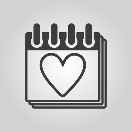 rendezvous: The calendar icon. Valentines day symbol. Flat Vector illustration Illustration