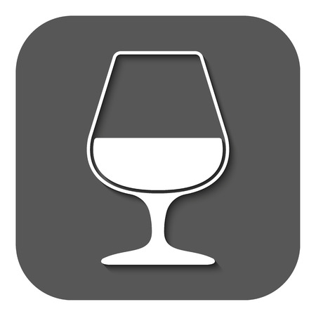 brandy: The glass with brandy icon. Brandy symbol. Flat Vector illustration. Button Illustration