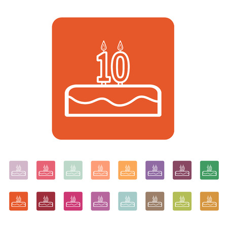 number 10: Cake with candles in the form of number 10 icon. birthday symbol. Flat Vector illustration. Button Set Illustration