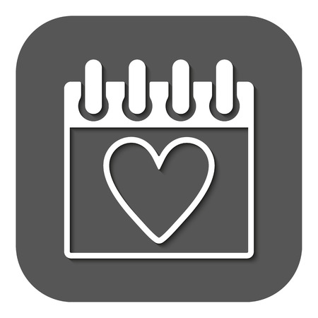 tryst: The calendar icon. Valentines day symbol. Flat Vector illustration. Button