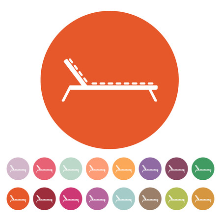 daybed: The lounger icon. Sunbed symbol. Flat Vector illustration. Button Set