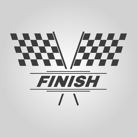 two crossed checkered flags: The race flag icon. Finish symbol. Flat Vector illustration Illustration