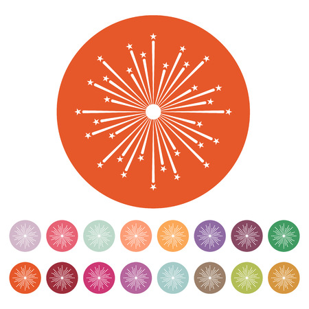 holiday symbol: Firework icon. Holiday symbol. Flat Vector illustration. Button Set