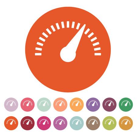 The tachometer, speedometer and indicator icon. Performance measurement symbol. Flat Vector illustration. Button Set Illustration