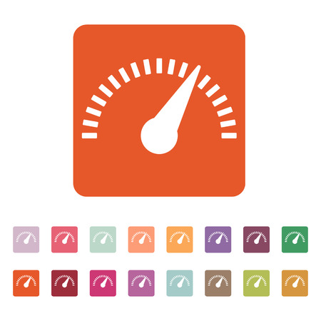 performance: The tachometer, speedometer and indicator icon. Performance measurement symbol. Flat Vector illustration. Button Set Illustration