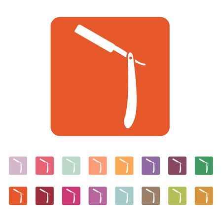 rasoio: L'icona rasoio. Simbolo Shaver. Appartamento illustrazione vettoriale. Button Set Vettoriali