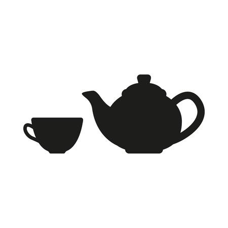 ティーポットとカップのアイコン。茶のシンボル。フラットのベクトル図