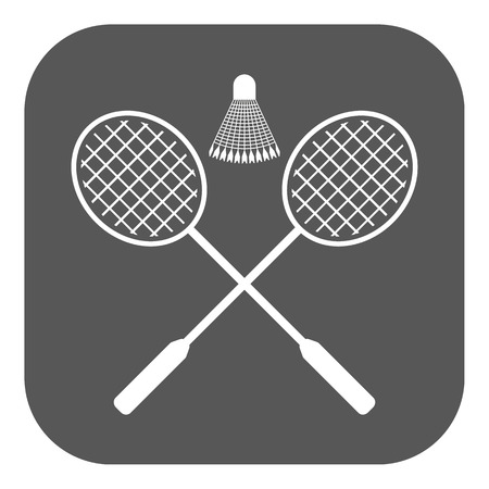badminton sport symbol: The badminton icon. Sport symbol. Flat Vector illustration. Button Illustration