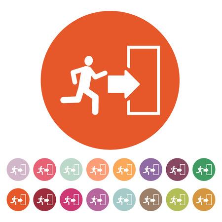 emergency exit icon: The exit icon. Emergency Exit symbol. Flat Vector illustration. Button Set