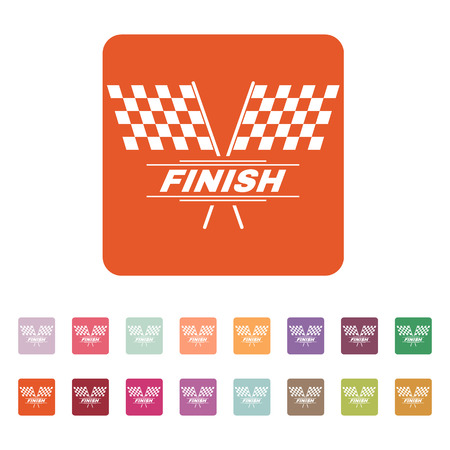two crossed checkered flags: The race flag icon. Finish symbol. Flat Vector illustration. Button Set Illustration