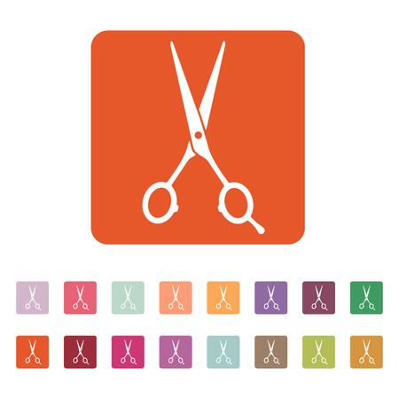 hairdressing scissors: The hairdressing scissors icon. Barbershop symbol. Flat Vector illustration. Button Set