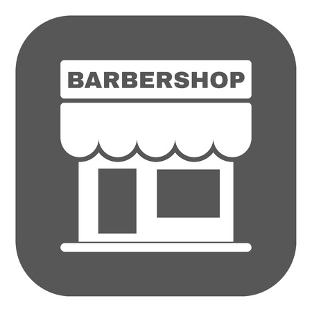 barbershop: The barbershop building icon. Barbershop symbol. Flat Vector illustration. Button