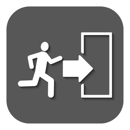 emergency exit: The exit icon. Emergency Exit symbol. Flat Vector illustration. Button