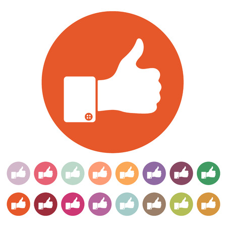The thumb up icon. Like symbol. Flat Vector illustration. Button Set Illustration