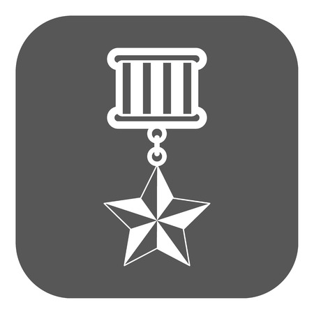 conquering: The medal icon. honor symbol. Flat Vector illustration. Button
