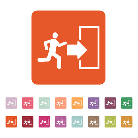 set going: The exit icon. Emergency Exit symbol. Flat Vector illustration. Button Set