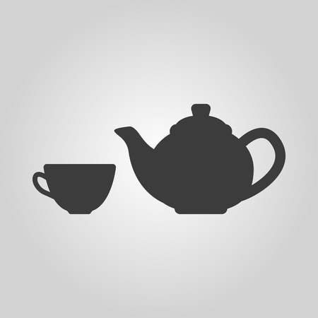 The teapot and cup icon. Tea symbol. Flat Vector illustration Vettoriali