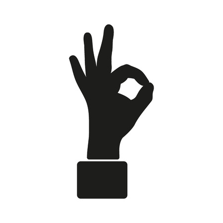 ok hand: The OK icon. Okay symbol. Flat Vector illustration