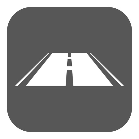 The road icon. Highway symbol. Flat Vector illustration. Button