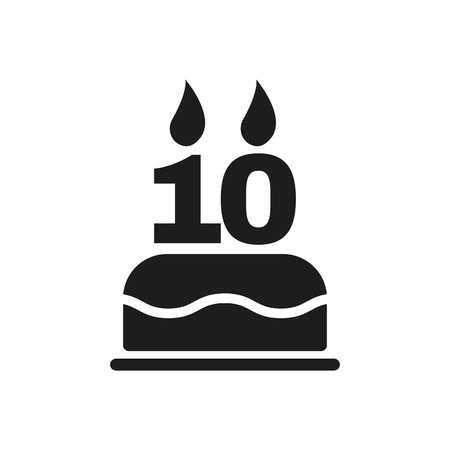 number 10: The birthday cake with candles in the form of number 10 icon Illustration
