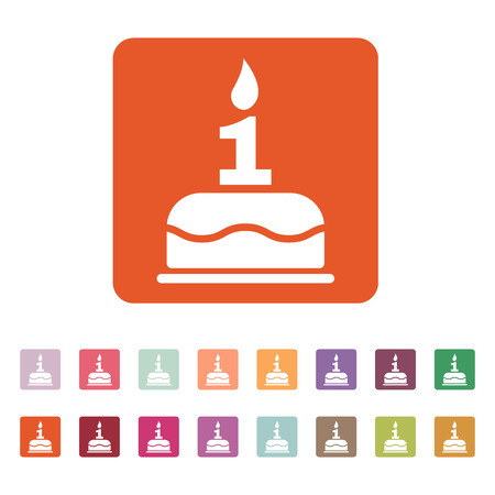 number candles: The birthday cake with candles in the form of number 1 icon