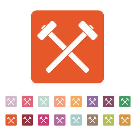 sledgehammer: The hammer icon. Sledgehammer symbol. Flat Vector illustration. Button Set Illustration