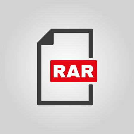 compressed: The RAR file icon. Archive, compressed symbol. Flat Vector illustration