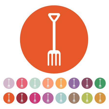 pitchfork: The pitchfork icon. Fork symbol. Flat Vector illustration. Button Set
