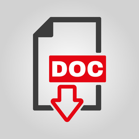 file format: The DOC icon. Text file format symbol. Flat Vector illustration