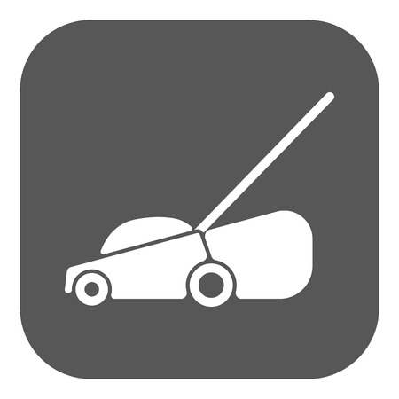 button grass: The lawn mower icon. Grass symbol. Flat Vector illustration. Button