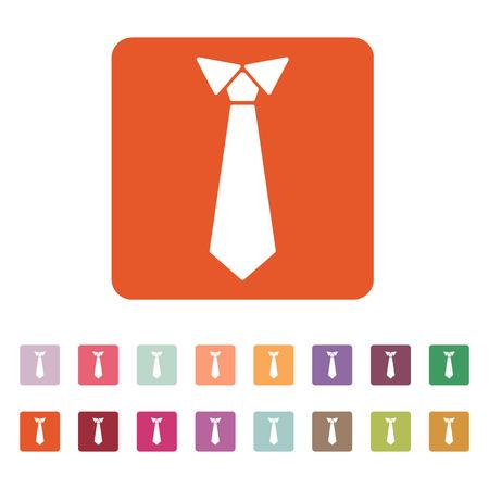 The tie icon. Necktie and neckcloth symbol. Flat Vector illustration. Button Set