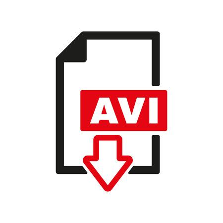 avi: The AVI icon. Video file format symbol. Flat Vector illustration