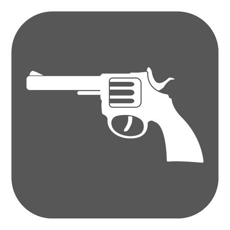 gun barrel: The revolver icon. Gun and weapon symbol. Flat Vector illustration. Button