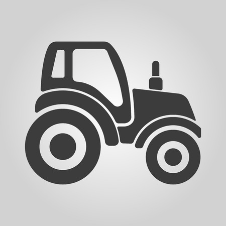 tractor in field: The tractor icon. Agrimotor symbol. Flat Vector illustration