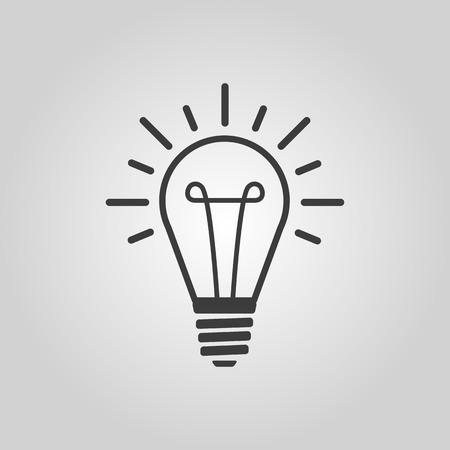 The lightbulb icon. Illumination symbol. Flat Vector illustration Çizim