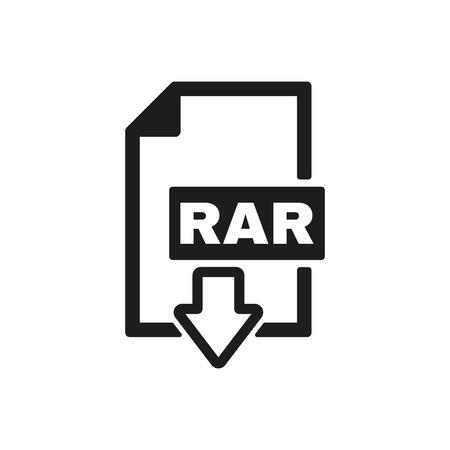 rar: The RAR file icon. Archive, compressed symbol. Flat Vector illustration