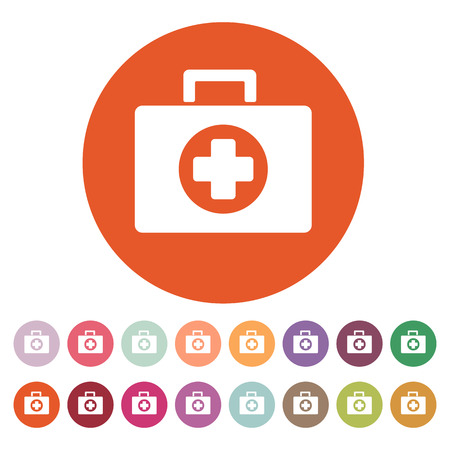 medicine chest: The medicine chest icon. Ambulance symbol. Flat Vector illustration. Button Set