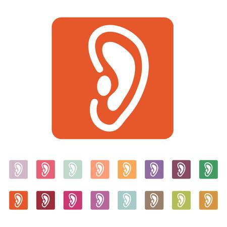 oreja: El icono de la oreja. Escuchar símbolo. Ilustración vectorial Flat. Botón Set