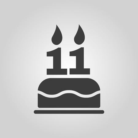 number eleven: The birthday cake with candles in the form of number 11 icon. Birthday symbol. Flat Vector illustration