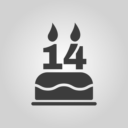 number 14: The birthday cake with candles in the form of number 14 icon. Birthday symbol. Flat Vector illustration