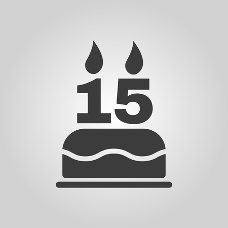 number candles: The birthday cake with candles in the form of number 15 icon. Birthday symbol. Flat Vector illustration Illustration