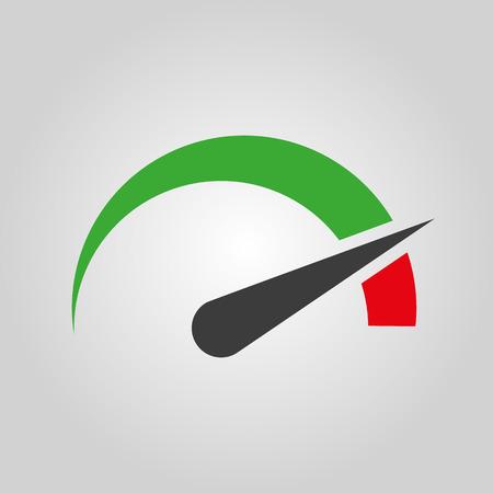 Ikona otáčkoměr, rychloměr a ukazatel. Performance symbol měření. Flat vektorové ilustrace Ilustrace