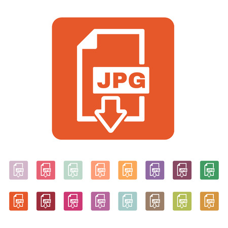 compressed: The JPG icon. File format symbol. Flat Vector illustration. Button Set