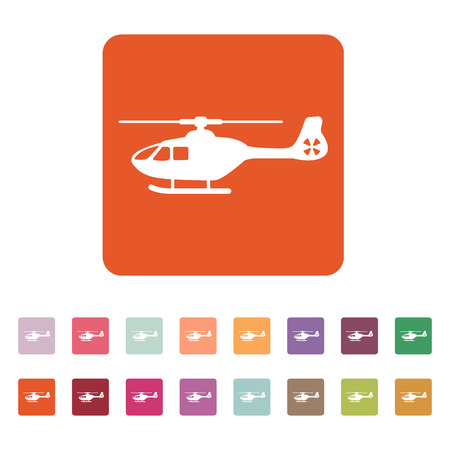 fuselage: The helicopter icon. Copter symbol. Flat Vector illustration. Button Set