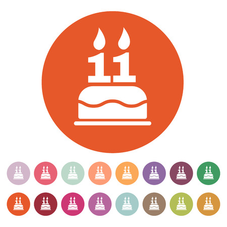 number 11: The birthday cake with candles in the form of number 11 icon. Birthday symbol. Flat Vector illustration. Button Set