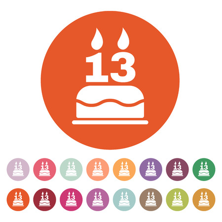 number 13: The birthday cake with candles in the form of number 13 icon. Birthday symbol. Flat Vector illustration. Button Set